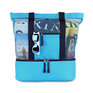 Blue Sky Mesh Beach Bag with Cooler and Waterproof Pouch