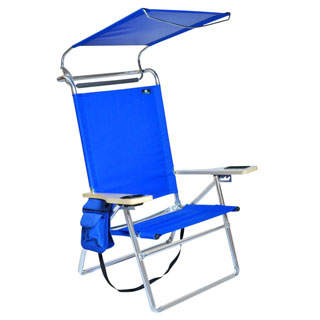 Deluxe Lightweigh Aluminum Beach Chair with Canopy and cup holder