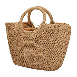 Handwoven Large Straw Hobo Beach Bag