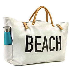 KEHO Large Canvas Beach Bag Travel Tote
