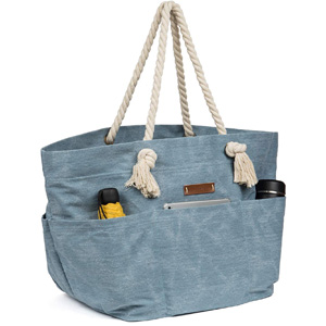 Malirona Large Canvas Beach Bag