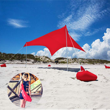 Otentik Beach Sunshade Canopy with Sandbag Anchors