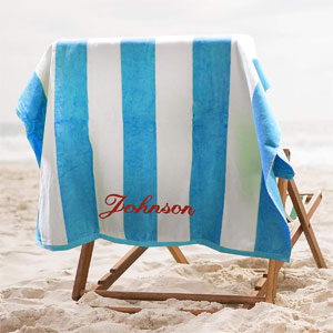 Premium Personalized Striped Cabana Beach Towel Monogrammed
