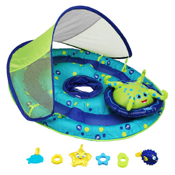 SwimWays Baby Spring Float Inflatable Activity Center with Canopy