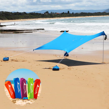 ZiggyShade Family Beach Sunshade Canopy with Sandbag Anchors