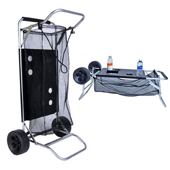 Beach Cart with Folding Table and Drink Holders
