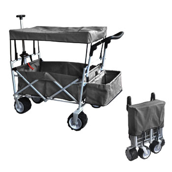 Grey Free Folding Beach Wagon with Ice Cooler