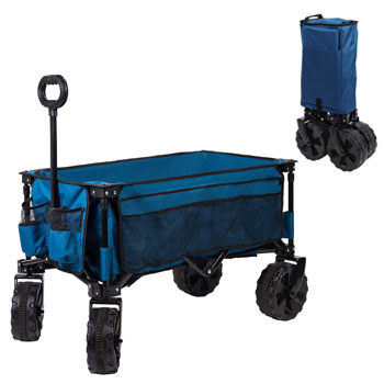Timber Ridge Folding Beach Wagon Cart with Collapsible Sturdy Steel Frame