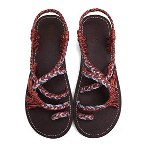 MEGNYA Flat Braided Strap Beach Sandals for Women
