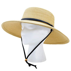 Sloggers Women Wide Brim Braided Sun Protection Hat with Wind Lanyard