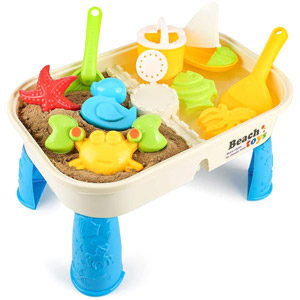 COOLOOK 10-Pieces Beach Sand Toys Set with Activity Table