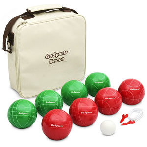 GoSports Bocce Set with 8-Balls, Pallino, Case and Measuring Rope