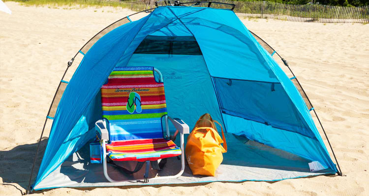 beach tent on a sandy beach